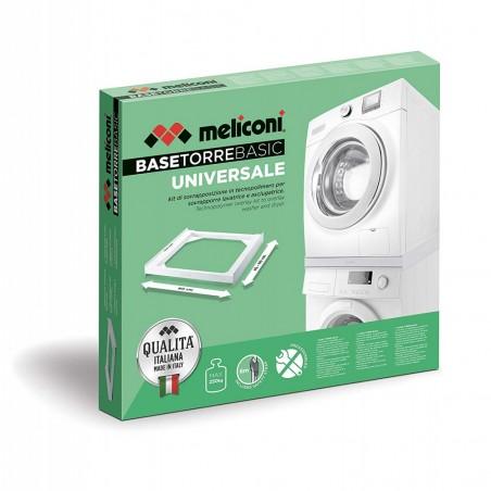 Meliconi Base Torre Basic, kit di Sovrapposizione Universale per lavatrice e asciugatrice in poliuretano bianco