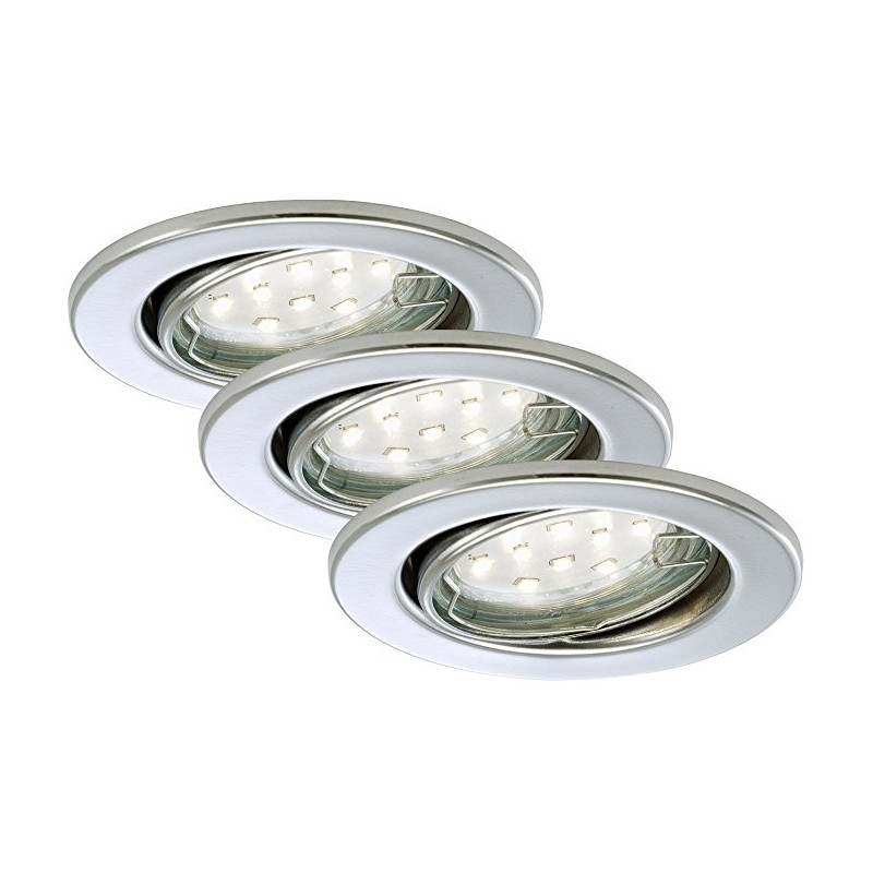 Faretti A Led Gu10.Briloner Faretto Led Da Incasso 3 X Led Gu10 3 W Orientabile Rotondo Chromo Gu10 3 Watts A